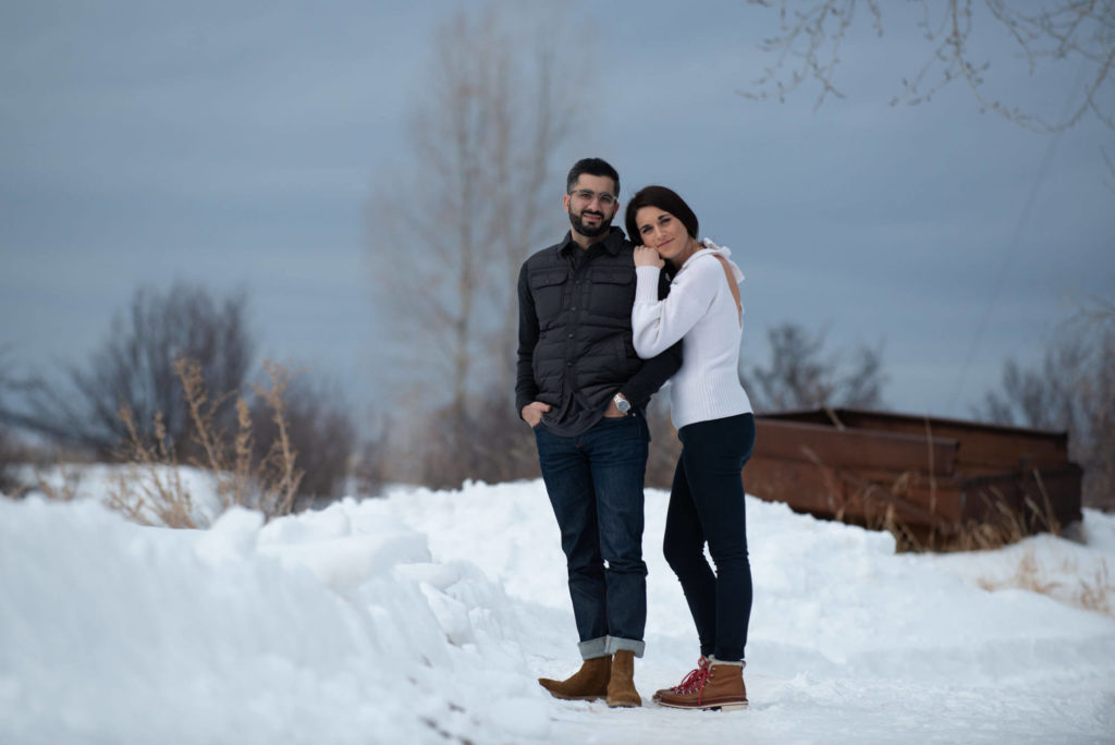 photo of a couple in the snow taken by Aspen photographer Michele Cardamone