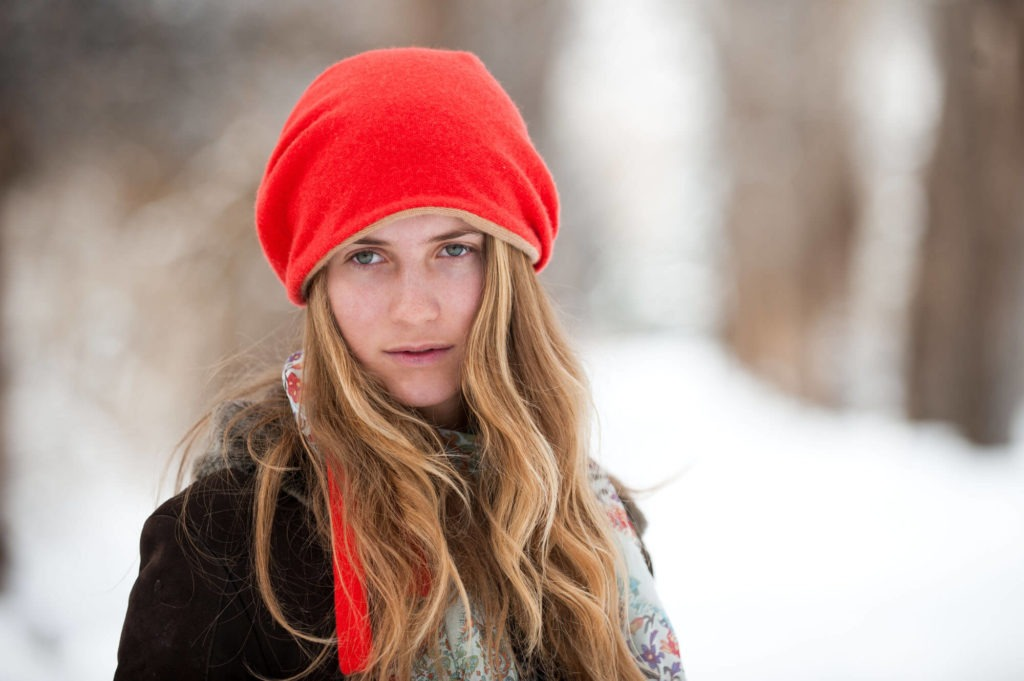 Headshot of a girl in the winter