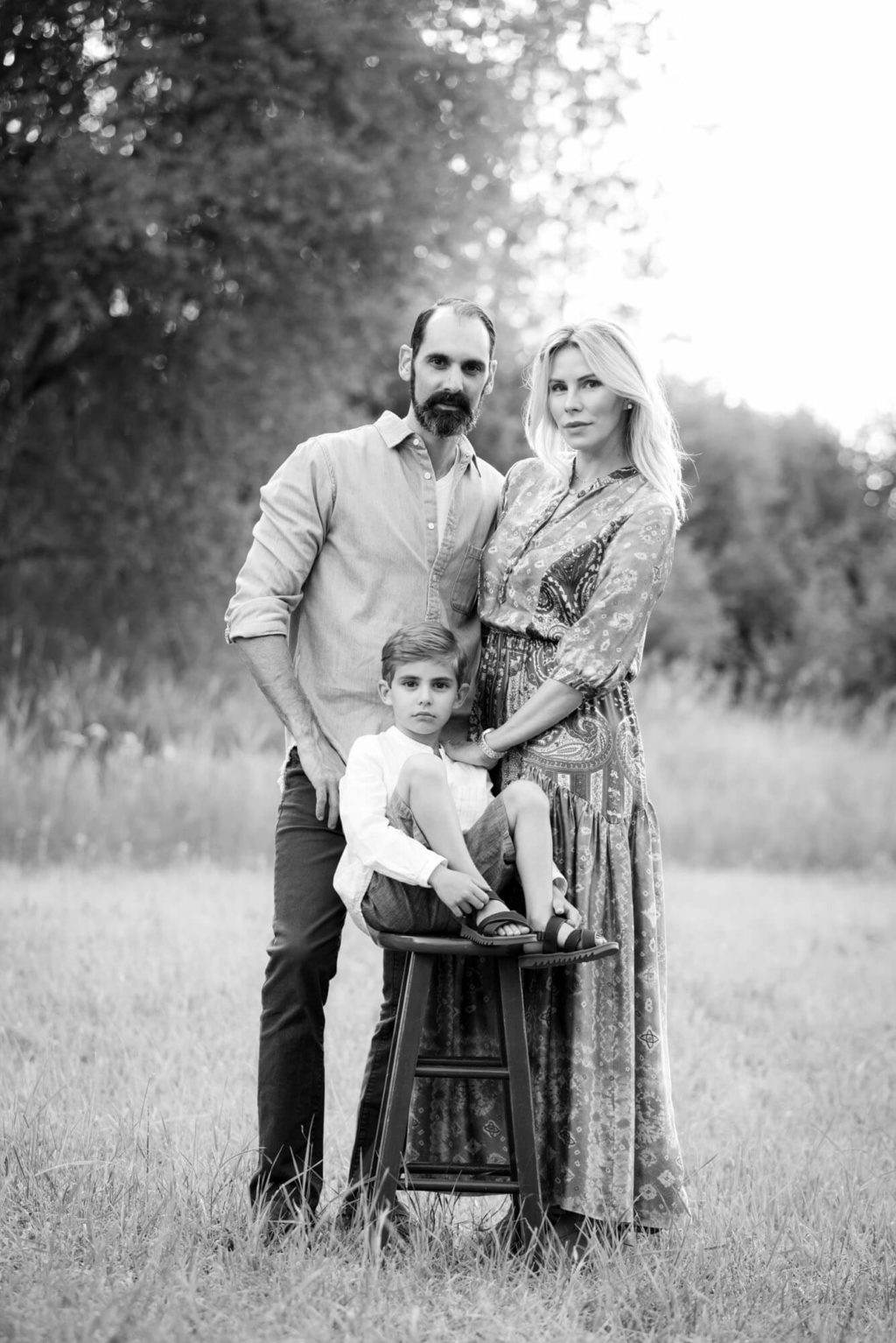 black and white family portrait taken by Michele Cardamone