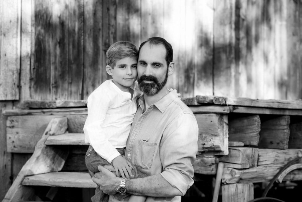 black and white photograph of a father and son photograph taken by Michele Cardamone