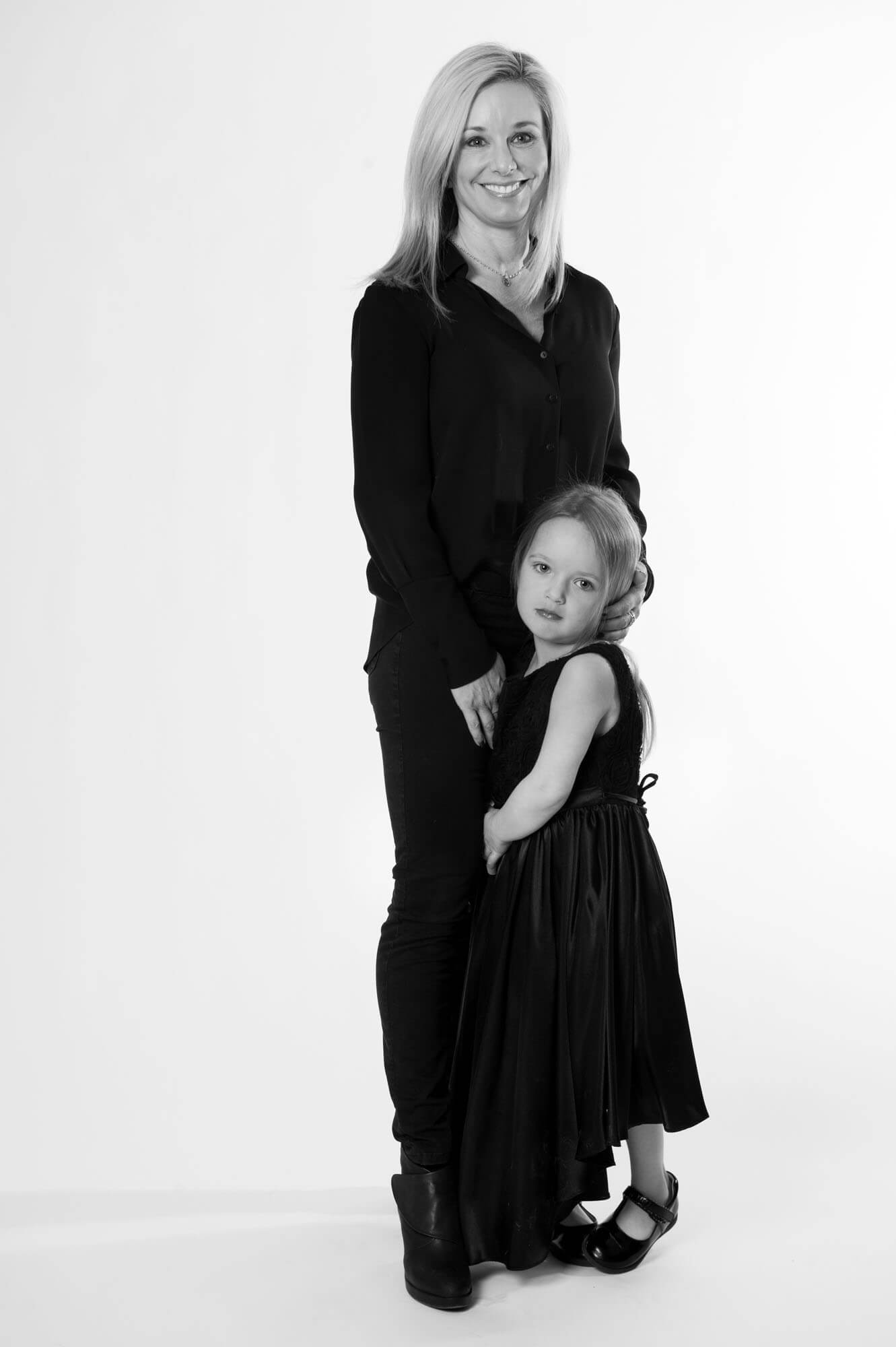 black and white portrait of a mom and daughter