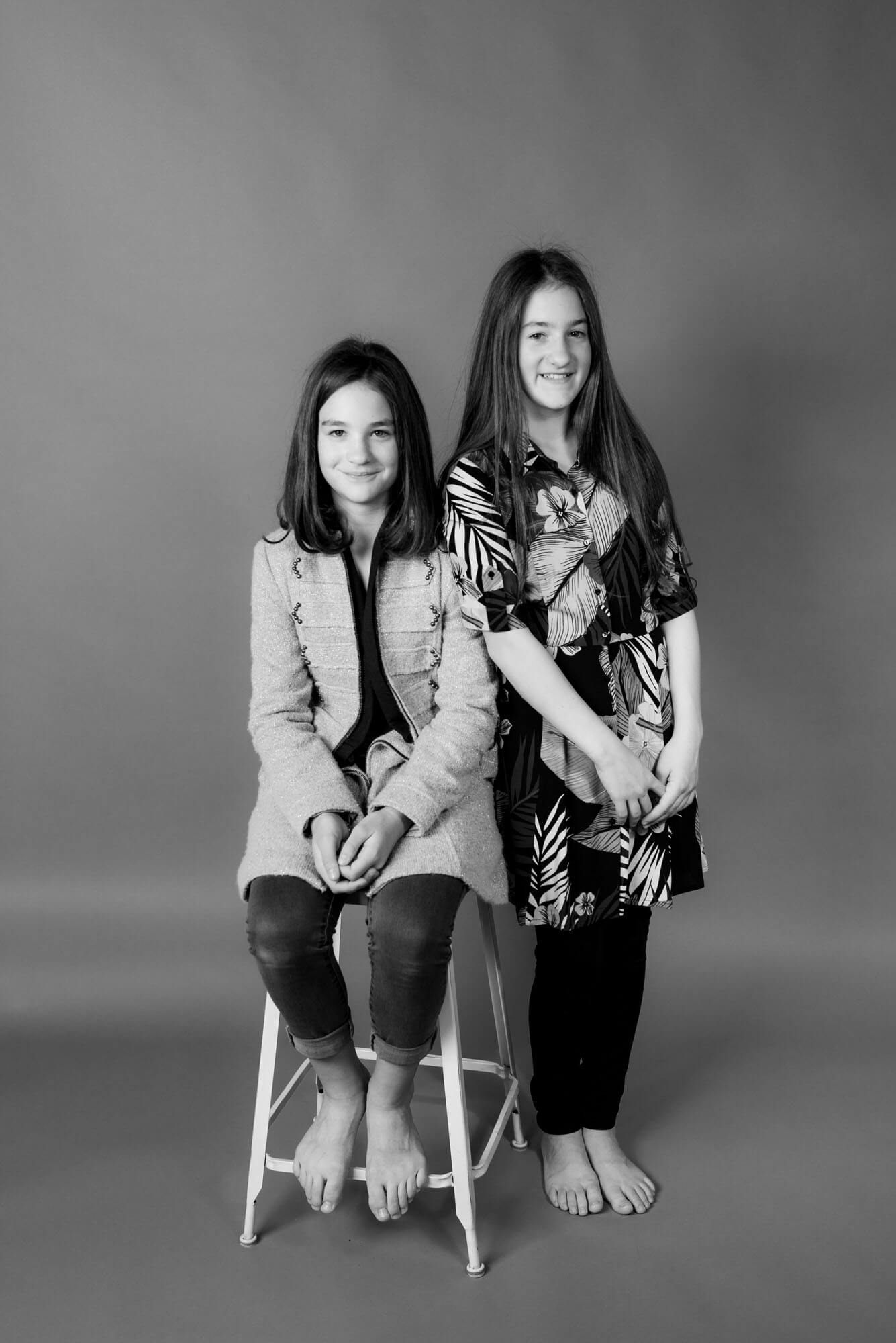 portrait of 2 girls in a studio