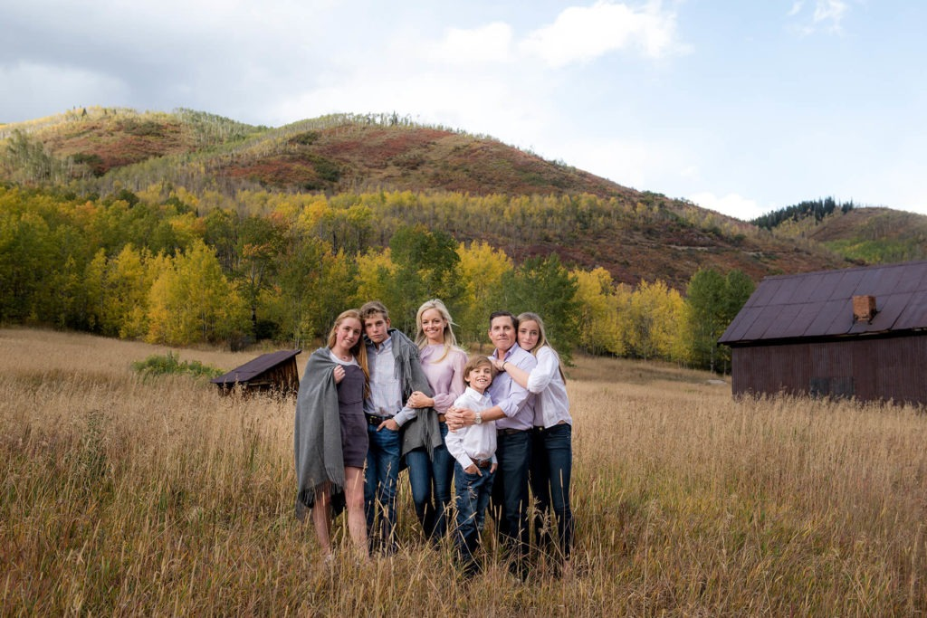 Capturing a family in fall in the mountains