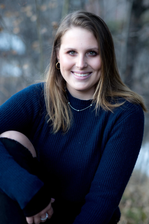 Senior girl in blue sweater