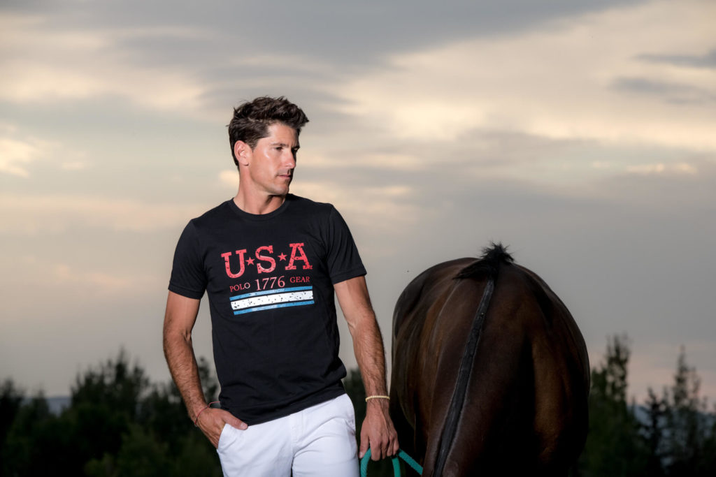 Nic Roldan, polo player at sunset