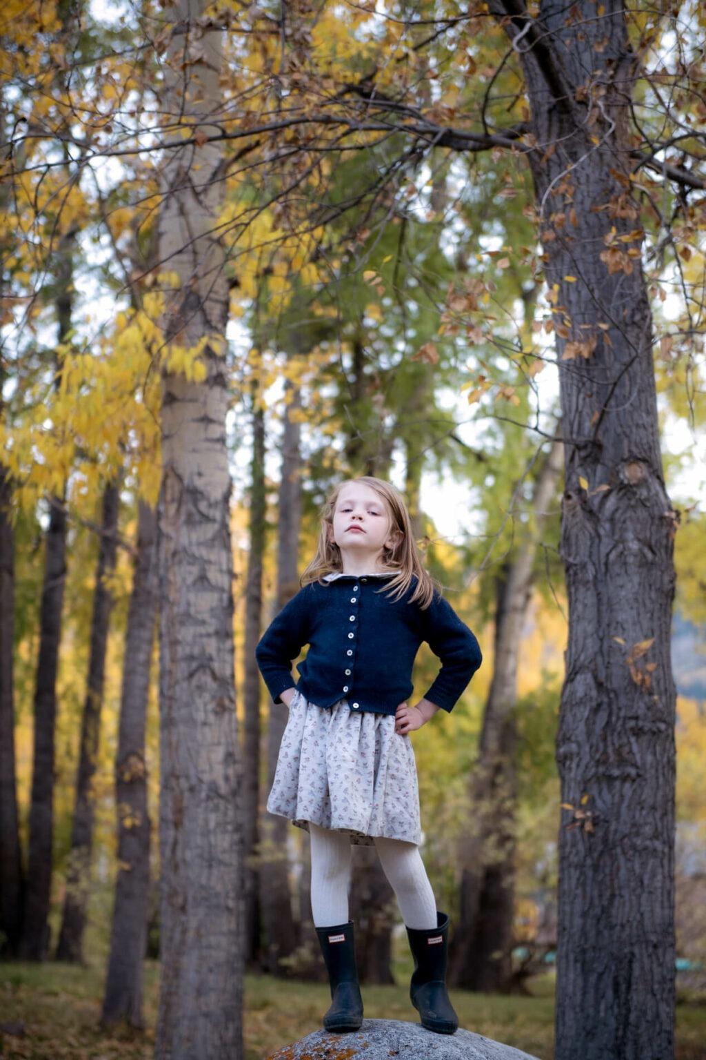 little girl in skirt