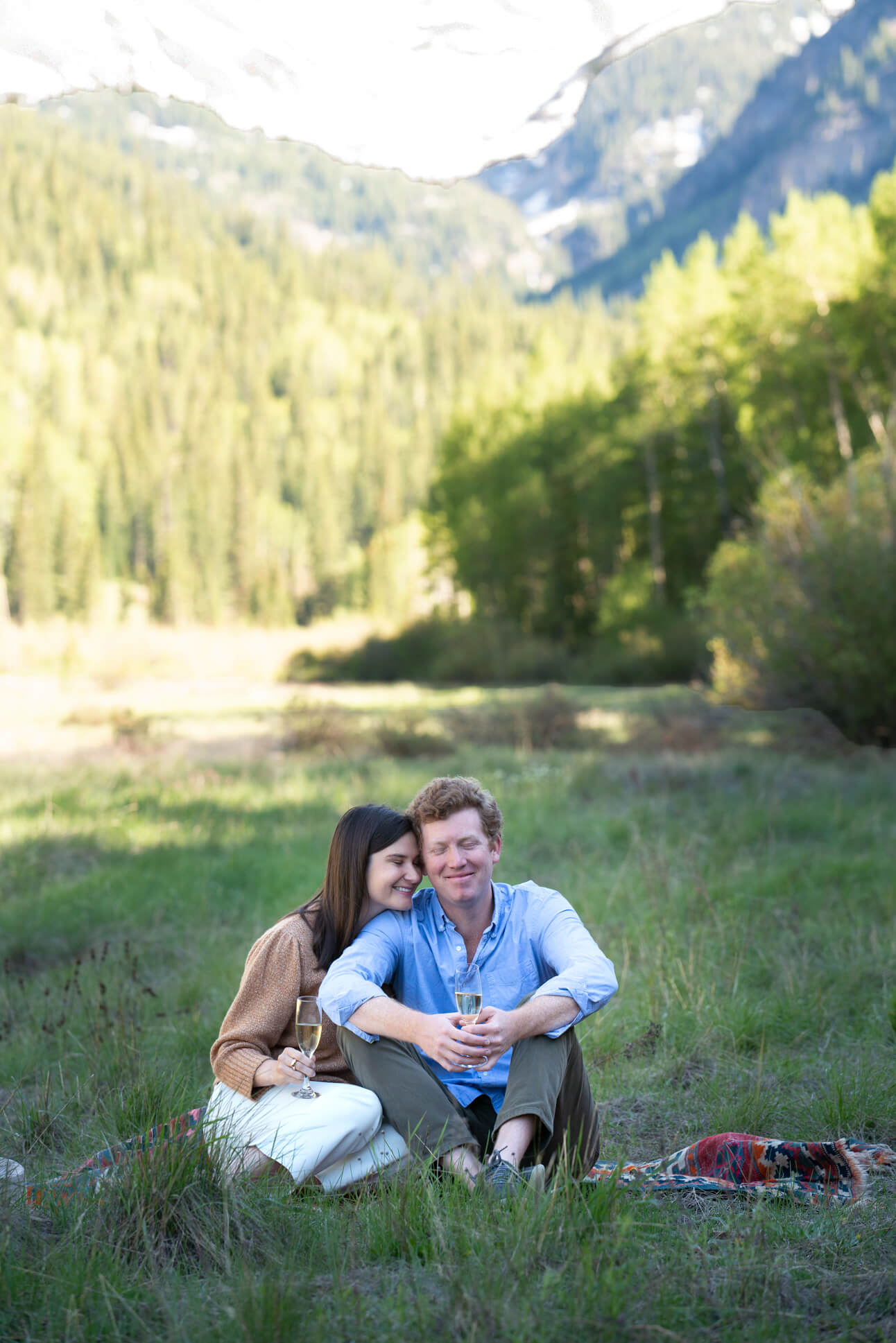 Engagement photo in the mountains